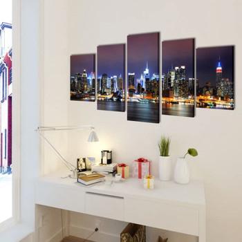 Set slika na platnu panorama New Yorka