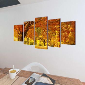 Zidne Slike na Platnu Set s Printom Drvo Javora 100 x 50 cm
