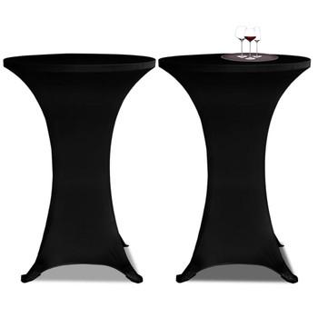Crni rastežljiv stolnjak za stolove Ø60 2 kom