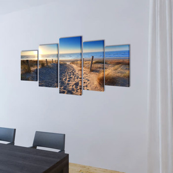 Zidne Slike na Platnu s Printom Pješčane Plaže 100 x 50 cm