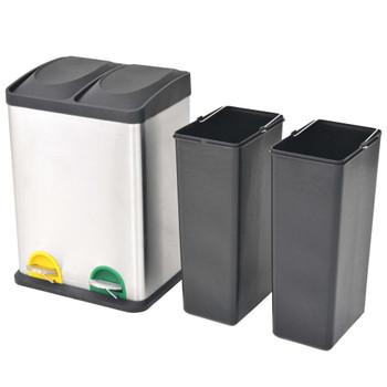 vidaXL Kanta za Recikliranje Otpada s Pedalama od Nehrđajućeg Čelika 2x18 L
