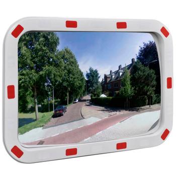 Konveksno pravokutno ulično zrcalo 40 x 60 cm s reflektorima