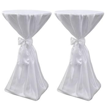 Bijeli stolnjak za stolove s vrpcom 80 cm 2 kom