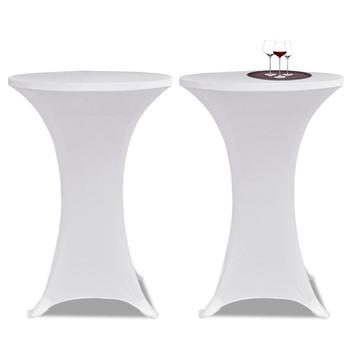 Bijeli rastežljiv stolnjak za stolove Ø80 2 kom