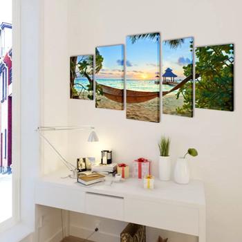 Zidne Slike na Platnu s Printom Pješčane Plaže s Ležaljkom 200 x 100 cm