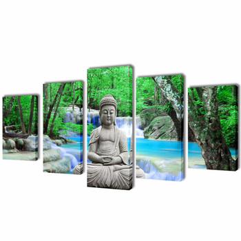 Zidne Slike na Platnu s Printom Buddha 100 x 50 cm