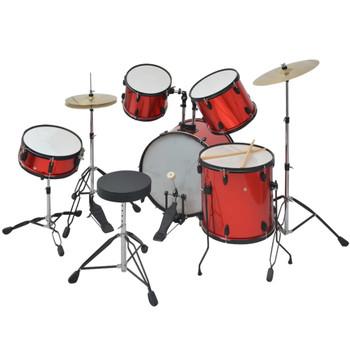 vidaXL Komplet Bubnjeva Obloženi Čelik Crveni Za Odrasle