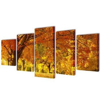 Zidne Slike na Platnu Set s Printom Drvo Javora 200 x 100 cm