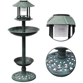 Hranilica za ptice s kupkom i solarnom lampom