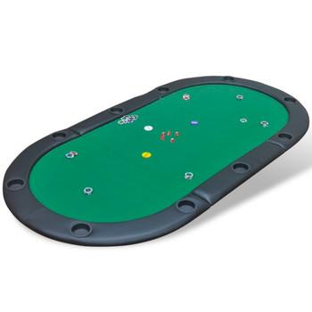 Podloga za Stol za Poker,10 igrača,Sklopiva Zelena