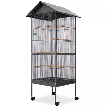 vidaXL Kavez za ptice s čeličnim krovom crni 66x66x155 cm