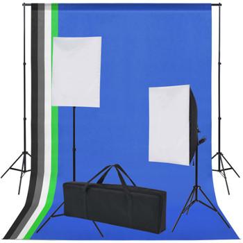 vidaXL Oprema za Foto Studio: 5 Raznobojnih Pozadina i 2 Softboxa
