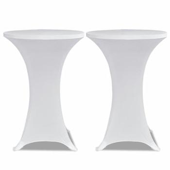 Bijeli rastežljiv stolnjak za stolove Ø60 2 kom