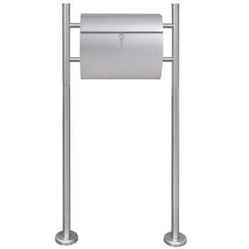 Poštanski sandučić od nehrđajućeg čelika na stalku (50352+50354)