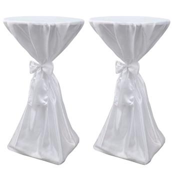 Bijeli stolnjak za stolove s vrpcom 70 cm 2 kom