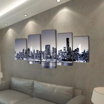 Zidne Slike na Platnu Monokromatski Set s Printom New York 200 x 100 cm