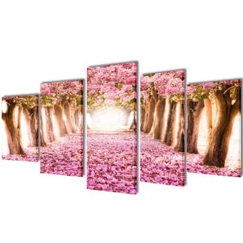 Zidne Slike na Platnu s Printom Trešnjinog Cvijeta 100 x 50 cm