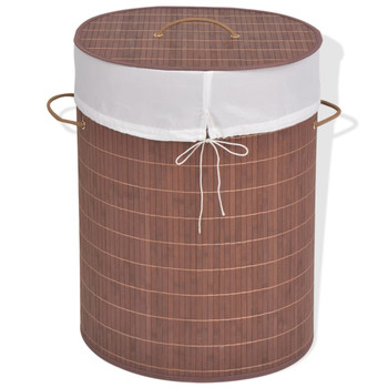 vidaXL Košara za rublje od bambusa ovalna smeđa