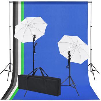 vidaXL Oprema za Foto Studio: 5 Raznobojnih Pozadina i 2 Kišobrana