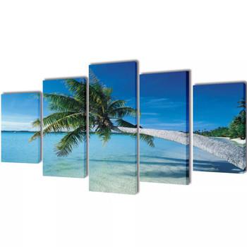 Zidne Slike na Platnu s Printom Pješčane Plaže i Palme 100 x 50 cm