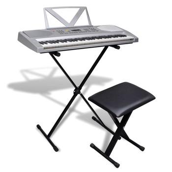 Elektronička klavijatura s 61 tipkom, stalak i set stolica