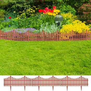 Smeđa niska ograda za travnjak 17 kom/10 m