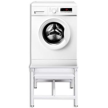 Bijelo postolje za stroj za pranje rublja s policom na izvlačenje