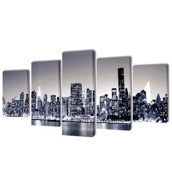 Monokromatski set slika na platnu panorama New Yorka 100 x 50 cm