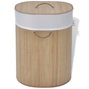vidaXL Košara za Rublje od Bambusa Ovalna