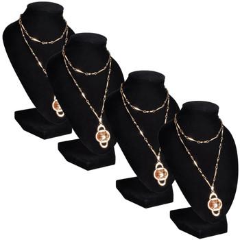 Stalak/poprsje za ogrlice flanelsko crno 4 komada