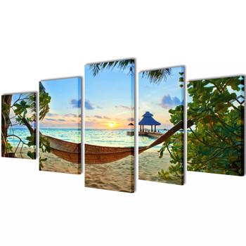 Zidne Slike na Platnu s Printom Plaže i Viseće Mreže 100 x 50 cm