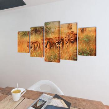 Zidne Slike na Platnu Set s Printom Lavovi 200 x 100 cm