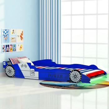 vidaXL Dječji Krevet LED Trkaći Auto 90x200 cm Plavi