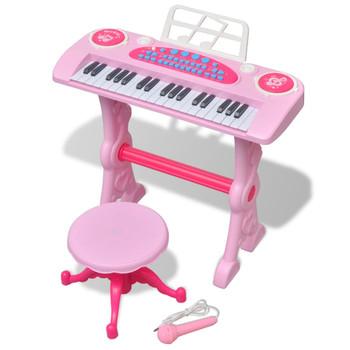 Ružičasta dječja klavijatura s 37 tipki, stolcem i mikrofonom