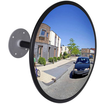 Konveksno unutrašnje plastično akrilno ogledalo, crno, 30 cm