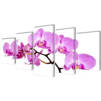 Zidne Slike na Platnu Set s Printom Orhideja 200 x 100 cm