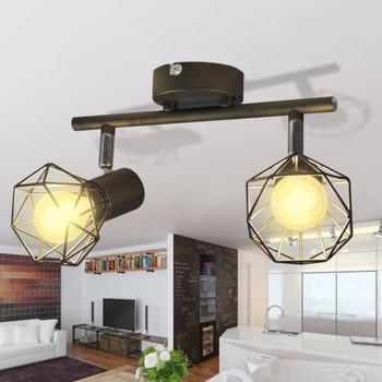Crni Reflektor sa 2 LED svjetiljke Industrijski stil Žičani okvir