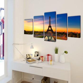 Zidne Slike na Platnu Set s Printom Eiffelov Toranj 200 x 100 cm