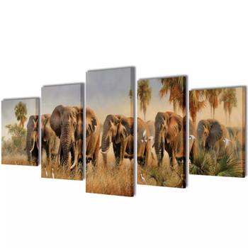 Zidne Slike na Platnu Set Slonovi 100 x 50 cm