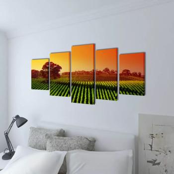Zidne Slike na Platnu Set s Printom Polja 100 x 50 cm