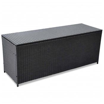 vidaXL Vrtna Kutija za Odlaganje od Poliratana Crna 150x50x60 cm