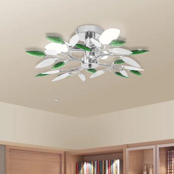Stropna lampa s zelenim kristalima u obliku lišća od akrila 3 žarulje