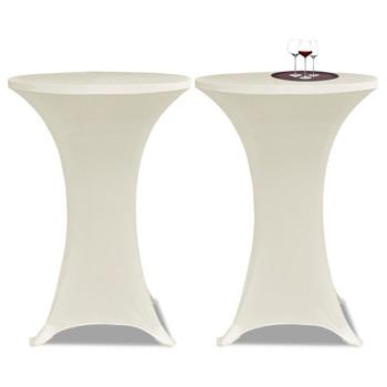 Krem rastežljiv stolnjak za stolove Ø70 2 kom