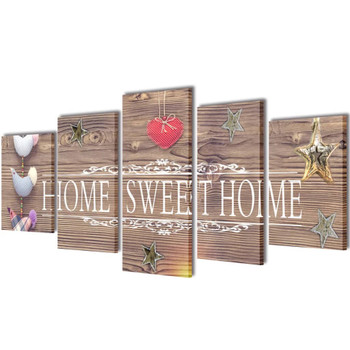 Zidne Slike na Platnu sa Printom Home Sweet Home 200 x 100 cm