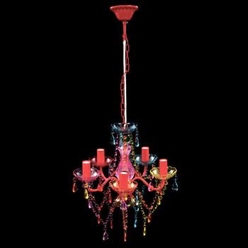 Šareni luster s kristalima 5 žarulja