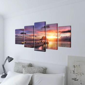 Zidne Slike na Platnu s Printom Pješčane Plaže i Paviljona 100 x 50 cm