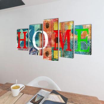 Zidne Slike na Platnu s Višebojnim Printom HOME 200 x 100 cm
