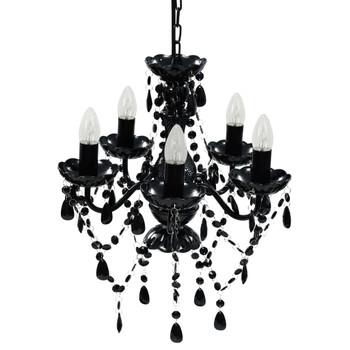 Crni Luster s Kristalima i 5 Žarulja