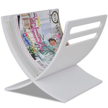 vidaXL Drveni Stalak za Časopise Bijeli