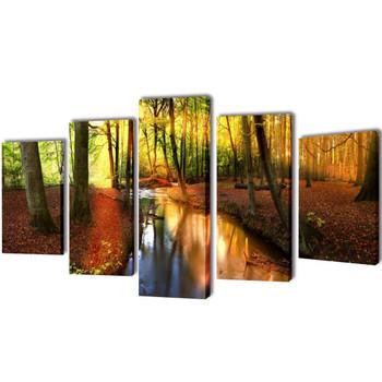 Zidne Slike na Platnu S Printom Šuma Set 200 x 100 cm